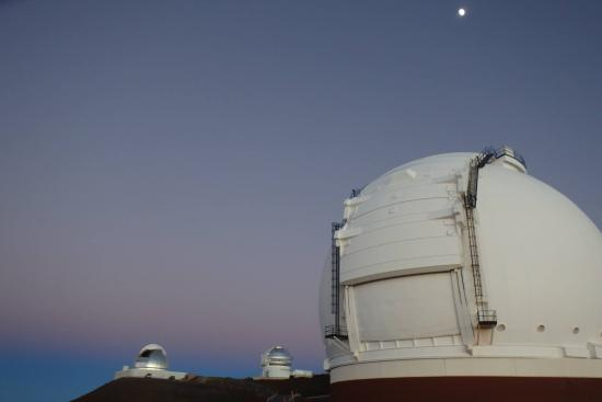 Mauna Kea Summit: The moon above the observatory.