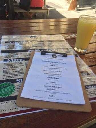 Irish Murphy's: Cloudy Apple Cider from Richmond and the menus