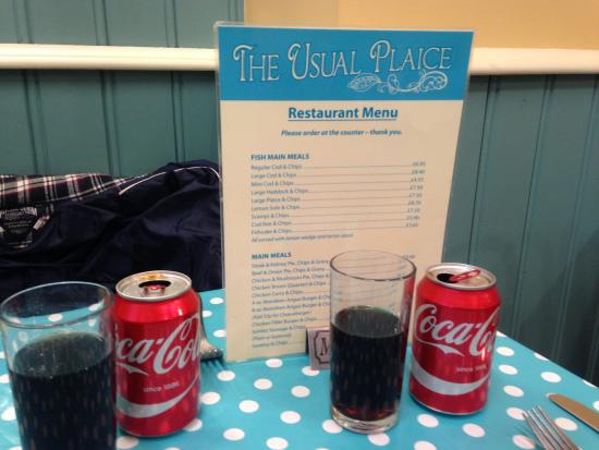 the usual plaice: Menu and our drinks