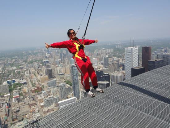 Edge Walk at the CN Tower: Me posing for a picture during the Edge Walk.