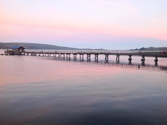 Marshall, CA: Pier and boat shack at sunrise