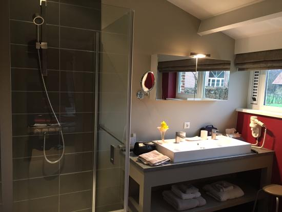 Lier, بلجيكا: The well presented bathroom with views over the gardens