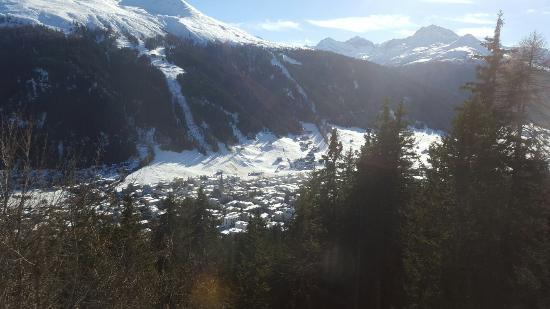 Davos Platz, Suisse : Panorama auf Davos runter