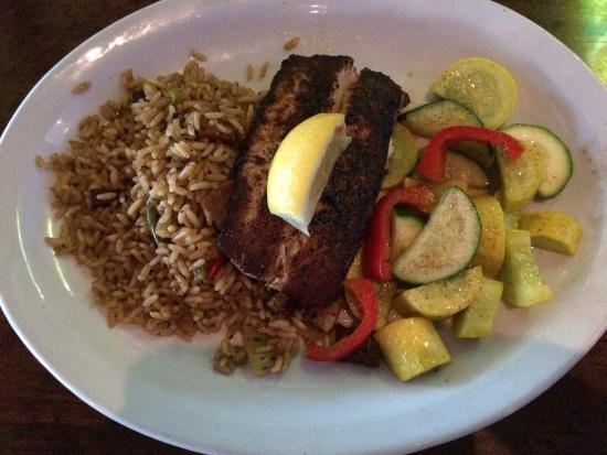 Rockwall, TX: Mahi Mahi dish with mixed vegetables and dirty rice