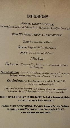 Mount Joy, PA: Infusion menu for February 2nd.