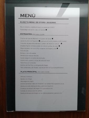 Parador de Teruel: Menú del restaurante