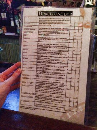 Barcelona Bar: Shot list