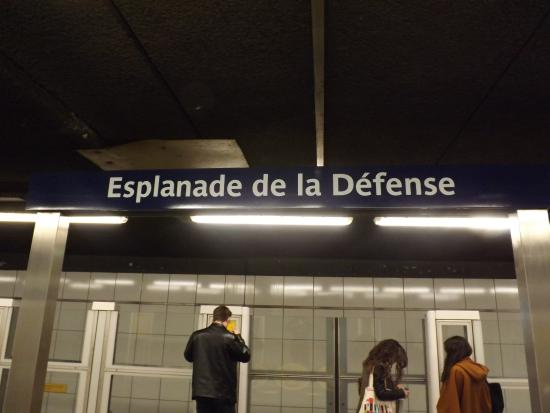 Courbevoie, France : Train station stop for shops