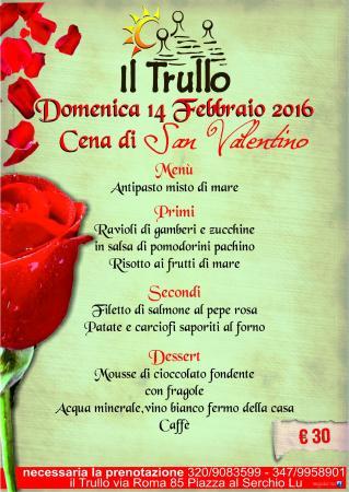 Piazza al Serchio, Italia: Menú di San Valentino