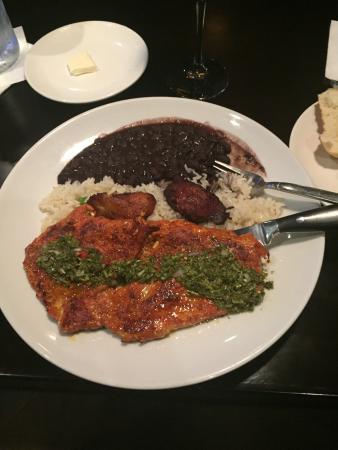 Churrasco de Cerdo - Pork tenderloin w/ rice, bean and plantaines