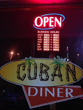 Cuban Diner Neon Sign Hours