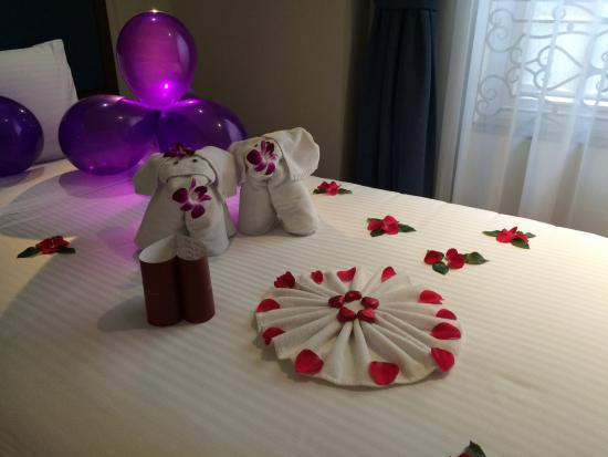 hanoi la siesta hotel spa birthday decorations on the bed