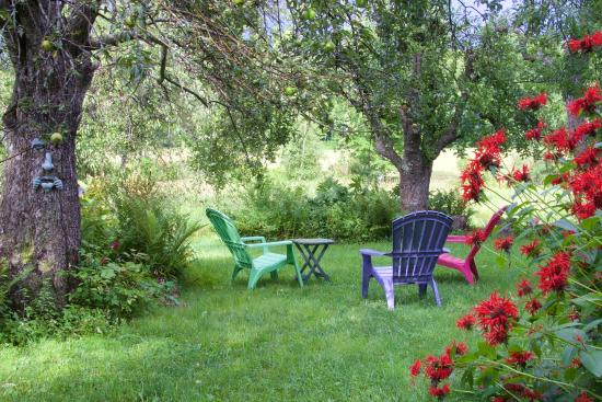 Mount Holly, VT: Seating area in side yard