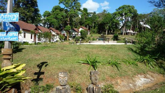 Paksong, Laos: Deluxe bungalows were front left
