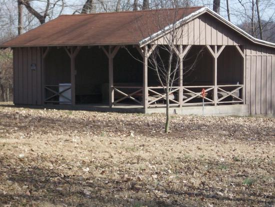 Jackson, MO: Covered area used for wedding receptions or picnic area for visitors.