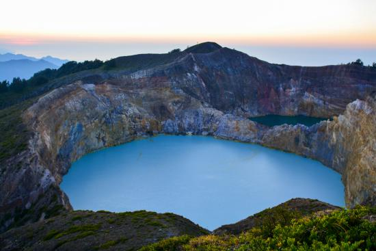 Mount Kelimutu: this is the most stunning of the lakes from the main view point at sunrise