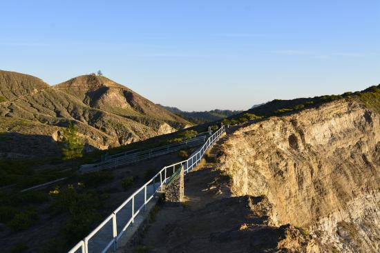 Mount Kelimutu: the background shows the main view point and this is the second lake viewing spot