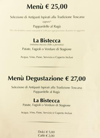 Carmignano, Italia: menù