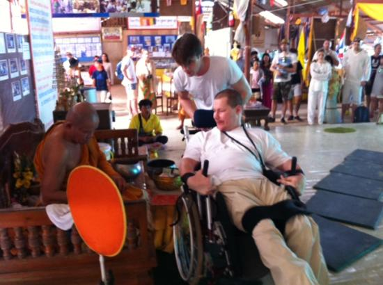 Chalong, Thailand: Patrick getting Blessed by a Monk at Big Buhhda