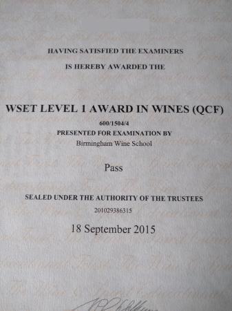 Wset Level 1 Certificate Picture Of Birmingham Wine School
