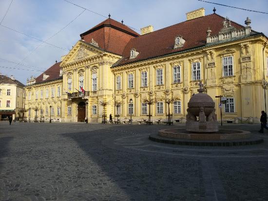 Szekesfehervar, Hongaria: Небольшой  городок  в Венгрии. Красивые старинные кварталы в центре. Карильоны с фигурками корол