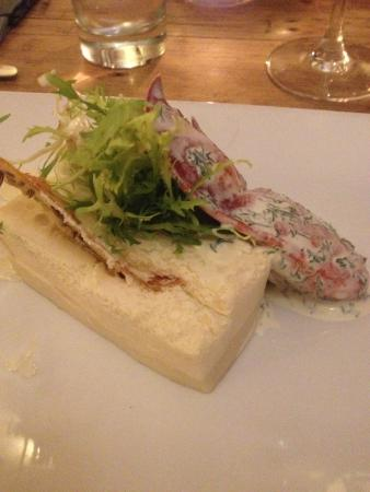 Diss, UK : Lobster Thermidor  mousseline with ginger jelly