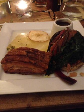 Diss, UK : Pork belly with fried  potato scone wilted chard apple crisp gorgeous