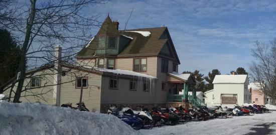 Mohawk, MI: Packed with snowmobilers...