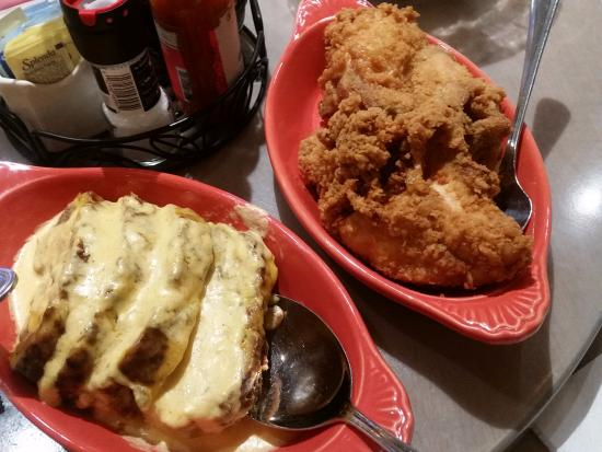 Best Ever Southern Fried Chicken And Cheesy Meatloaf Picture Of