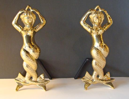 Portsmouth, VA: Cast brass mermaid andirons for your coastal home fireplace!