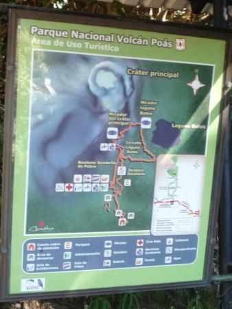 Национальный парк Поас-Волькано, Коста-Рика: Схема и маршрут