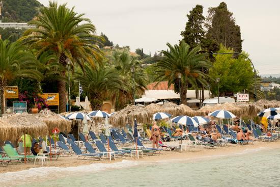 Benitses, Grecia: Участок пляжа относящийся к отелю Потомаки Бич