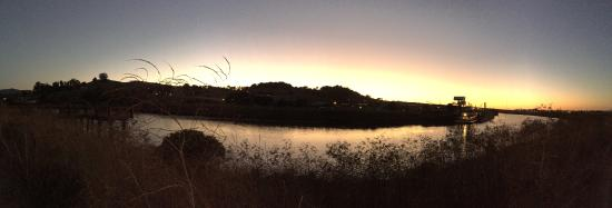 At sunset, looking over the Petaluma River