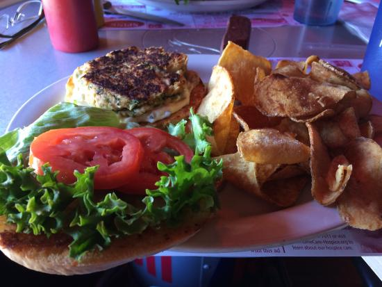 Allegany, NY: Burger with some made chips. Crabcake sandwich