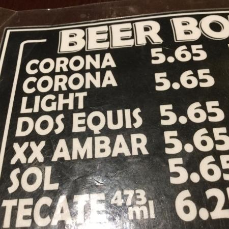 Barrie, Canada: Mexican beer selection.