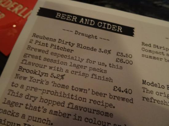 Congleton, UK: A section of the drinks menu