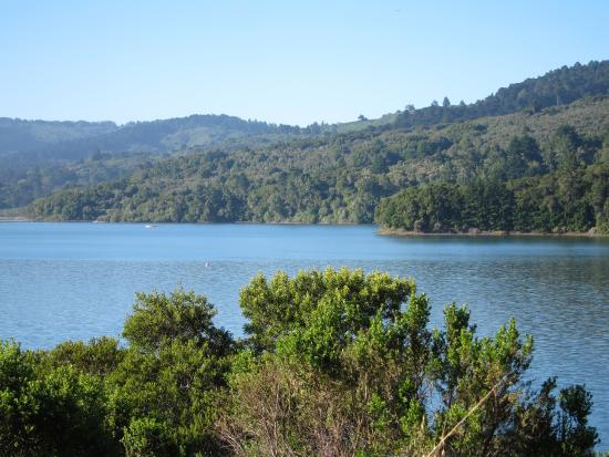 San Mateo, CA: View of the reservoir from the trail