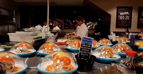 Carmel, IN: The sushi plates on the conveyer belt ( or sushi train)
