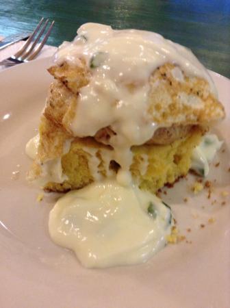 "Greensburg, Pensilvania: ""Baysider"" special: white jalapeño cornbread with crab cake, overeasy egg,scallion hollandaise s"
