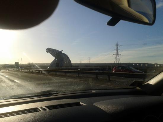 Falkirk, UK: The Kelpies as we were almost at them