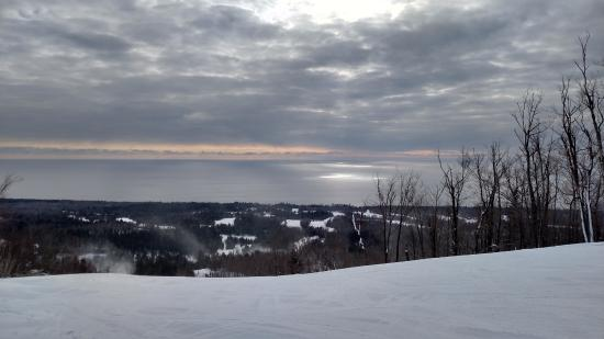 Sunlight hitting Lake Superior from Lutsen Mountain