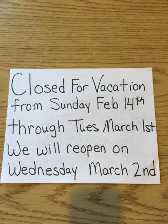 Ainsworth, IA: Closed for vacation.  2/14/16 thru 3/2/16