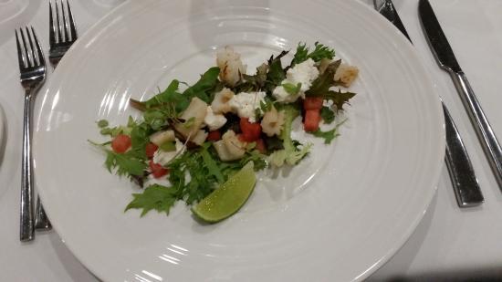 Dubbo, Australia: Baby squid, goats cheese & watermelon salad. (Very small entree)