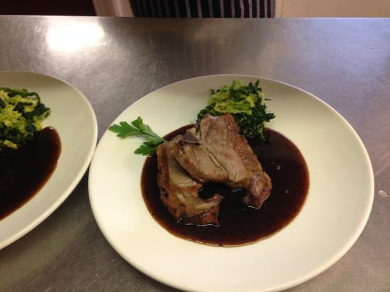 Chapel-en-le-Frith, UK: Pheasant in Game Gravy, served with a side dish of vegetables