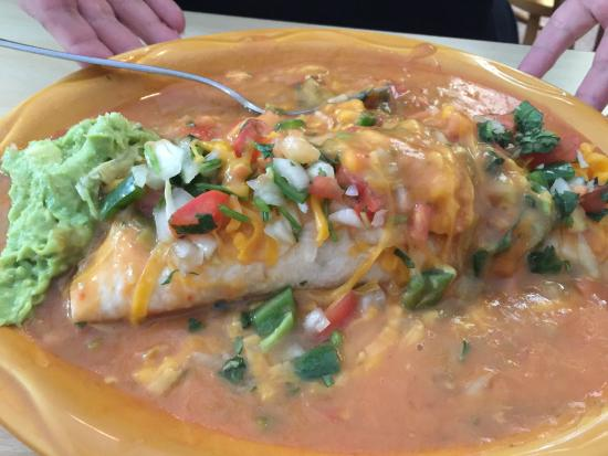 Greeley, CO: Ground Beef and Been Burrito Smothered w/vegetarian Green Chili and Pico De Gallo and Cheese