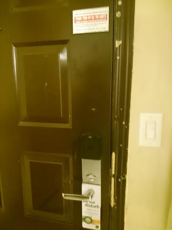 Fife, WA: Door. Peephole had paper jammed in it.