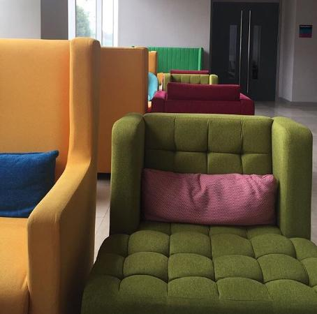 Very vibrant hotel. They have gorgeous furniture throughout the hotel like these colorful chairs