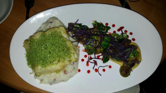Swansea, MA : Herb encrusted Cod with Red Bliss mashed potatoes, yellow beets and Brussel Sprouts.