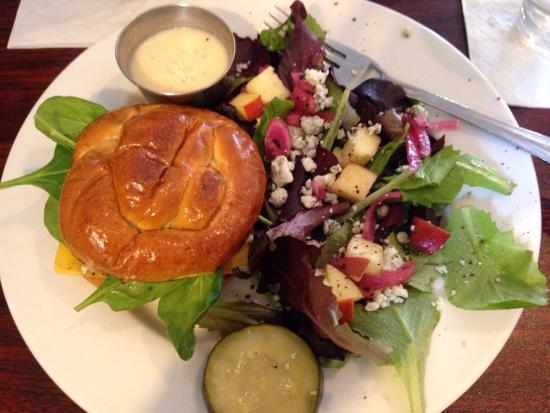 Quincy, IL : Choice of 2: small chicken sandwich on pretzel bun and salad of the day (Apple, bleu cheese, and