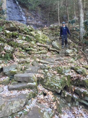 Lansing, Batı Virjinya: NOT for a beginning hiker.  Footing is a little slick.  Part of the trail has stairs...lots and